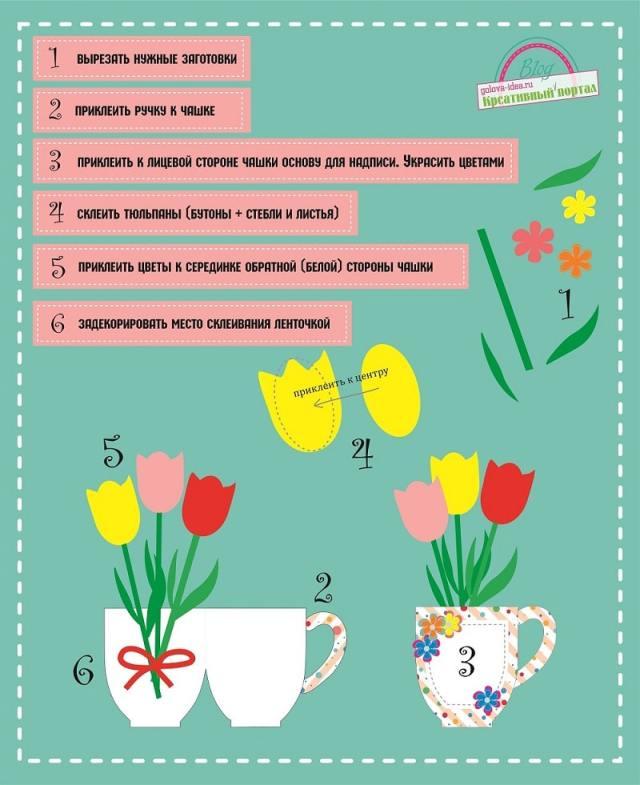 шаблон открытки на 8 марта своими руками-min
