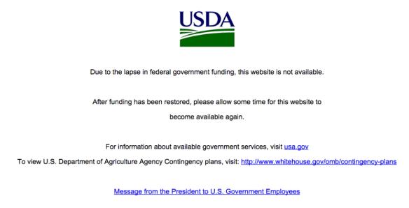 USDA Site Shutdown