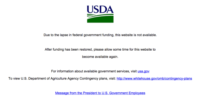 USDA Site Shutdown