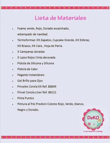 lista materiales corona