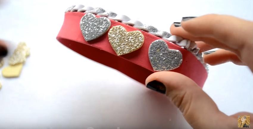 Caja de goma eva en forma de corazon para San Valentin 14