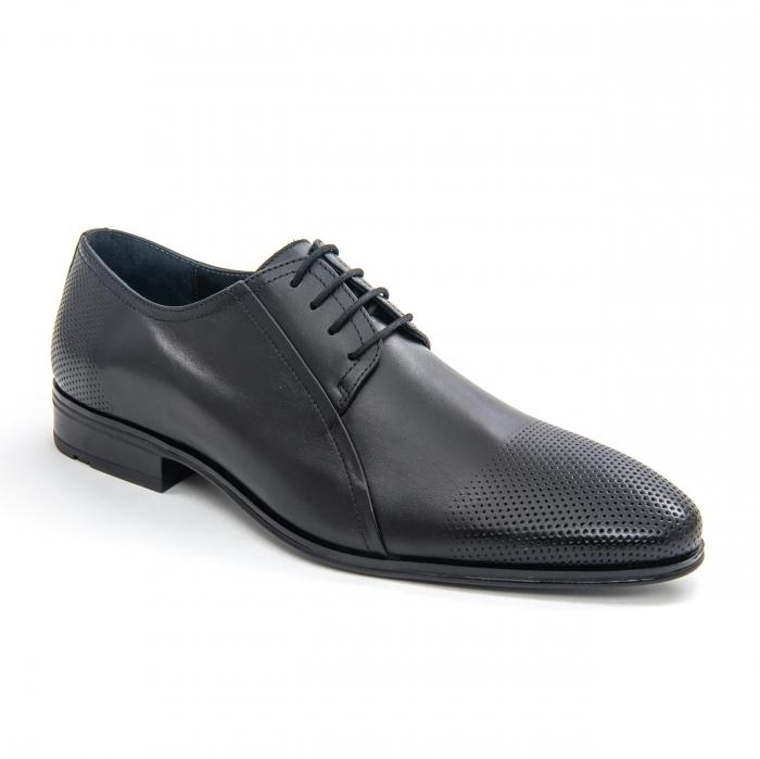 Pantofi barbati eleganti Leofex 743 piele naturala, negru