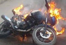 Man Sets Bike On Fire Because Of New Motor Act