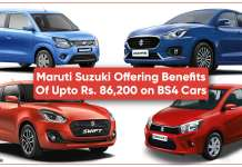 Maruti Suzuki is offering Benefits Of Up to Rs. 86,200 on BS4 Cars