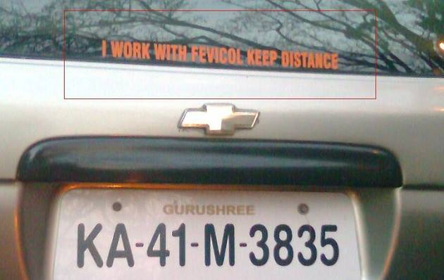 Fevicol car sticker