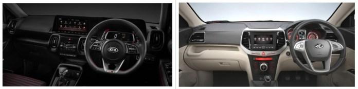 Kia Sonet vs Mahindra XUV300 Interior Dashboard
