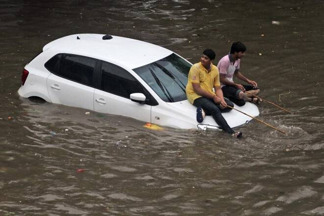 Volkswagen Polo submerged in Mumbai rains