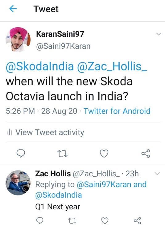 Zac Hollis Confirms The Launch of the Skoda Octavia on Twitter