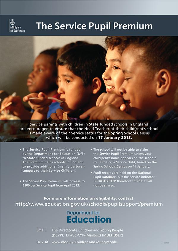 PUPIL PREMIUM TAB Service Children pupil premium poster