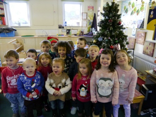 Morning Nursery children in their Christmas jumpers.