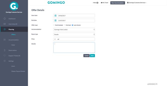 Offers - Gomingo Extranet