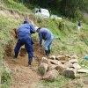 崩落の修理と稲刈り準備