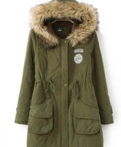 Wool Collars Cotton-padded Pockets Jacket Coat