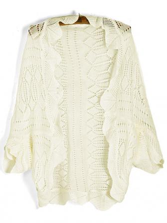 Scalloped Edge Half Batwing Sleeve Hollow Out Knitting Cardigans