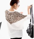 Mix-Matched Style Leopard Print Embellished Loose Bat-Wing Sleeves T-shirt