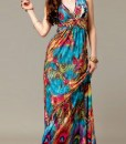 dresses-peacock-print-v-neck-ruched-empire-waist-bohemian-dress-006158