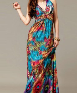 dresses-peacock-print-v-neck-ruched-empire-waist-bohemian-dress-006158