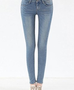 Solid Color Pocket Design Bleach Wash Slimming Jeans For Women
