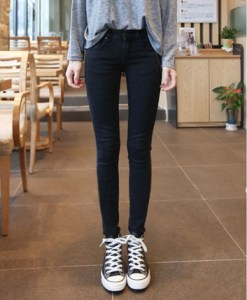 Solid Color Zipper Skinny Straight Leg Fashionable Style Jeans For Women