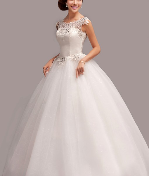 Delicate Scoop Neck Rhinestoned Lace Women's Backless Floor Length Organza Wedding Dress
