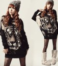 Casual Style Scoop Neck Tiger Printed Batwing Sleeve Knitting Sweater For Women