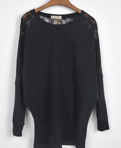 Loose Batwing Dolman Long Sleeve Lace T-shirt