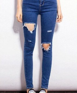 Stylish High-Waisted Hole Deisgn Zippered Jeans For Women