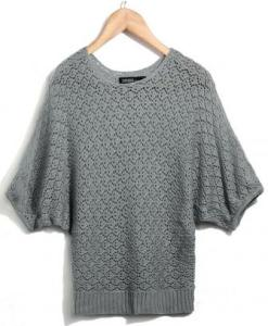 Women Batwing Small Rhombic Hole Sweater