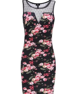 Lace Printing Flower Black Dress Single Jersey Elastic Splicing Dress