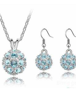 Glittering Full Crystal Ball Necklace Earrings Jewelry Set