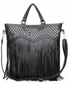 Tassel Black Big Bag PU Leather Handbag