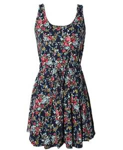 Blue Floral Pattern Sleeveless Dress