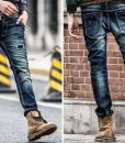 Acid Washes Baffi Holes Elastic Slim Fit Cotton Denim Jeans