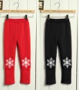 Children Girls Christmas Velvet Leggings Winter Snowflakes Pants