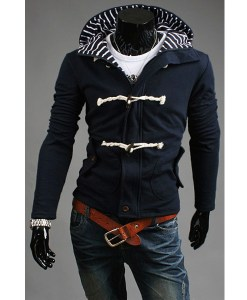 Slim Fit Hooded Zipper Button Front Outwear Jacket