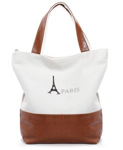 Retro PARIS Eiffer Tower Canvas Handbag