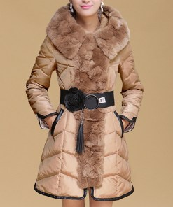 Spliced Faux Fur Embellished With Belt Stylish Hooded Collar Long Sleeve Women's Coat