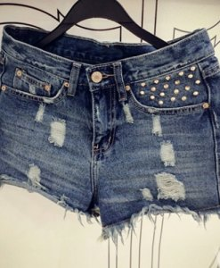 Rough Selvedge Design Frayed Denim Shorts