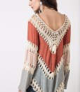 Multicolor Long Sleeve Crochet Kimono 2015