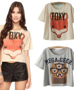 Letters Printed Casual Cropped Top