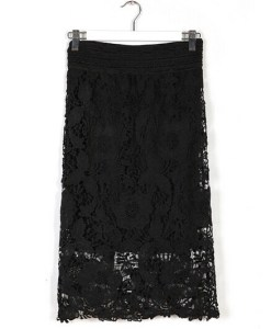 Lace A-Line Hollow Out Knee Length Skirt