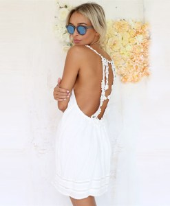 Crochet Backless Casual Dress