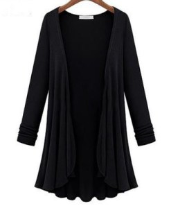 Flounce Hemline Solid Color Loose Cardigan Plus Size
