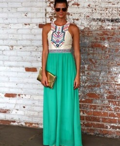 Sky Blue Hollow Out Maxi Dress