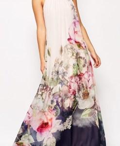 Floral Print Chiffon Sleeveless O-neck Loose Maxi Dress