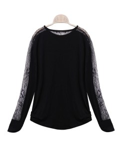 O-neck Loose See Through Lace Splice Long Sleeve T-shirt