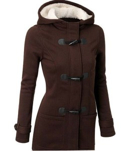 Wool Blends Slim Hooded Collar Horn Button Coat