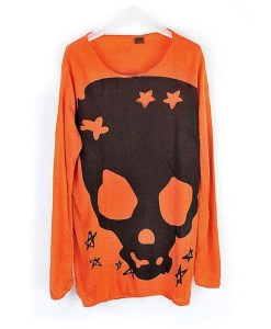 Long Sleeve Skull Loose Round Neck Knitwear Sweater