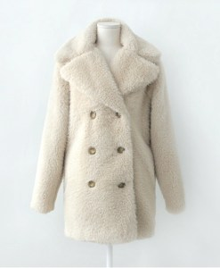 Slim Double Breasted Faux Fur Coat