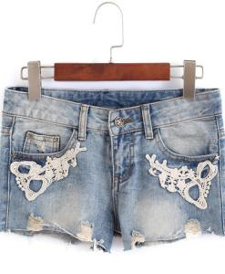 Zipper Fly Bleached Lace Mid Waist Embellished Denim Shorts